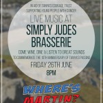 Live Music at Simply Judes Brasserie; Friday 26th June, 8pm